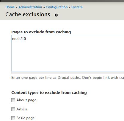 Отключение кеширования для определенных страниц в Drupal